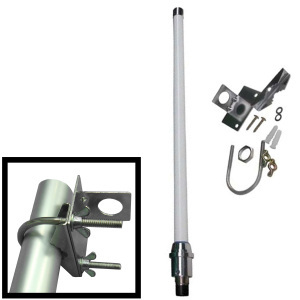 Antenna: 8.5dBi omni; Mounts: pole, wall. 2.4GHz for wireless/WiFi. N-f connector